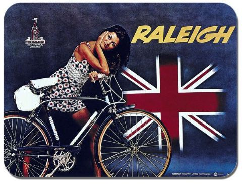 Raleigh Vintage Bicycle Ad Mouse Mat Classic Cycling Poster Bike Mouse pad Gift